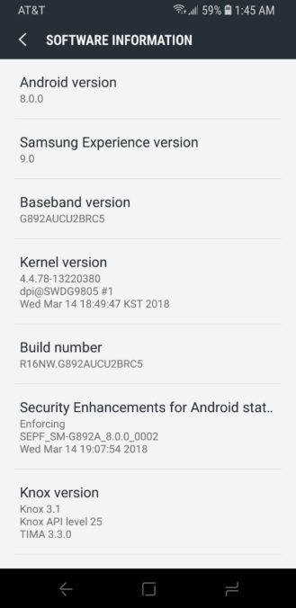 Galaxy S8 active Oreo update
